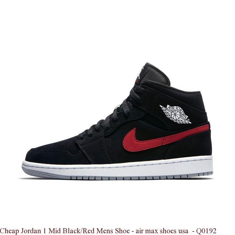 designer fashion a25c0 adda3 Cheap Jordan 1 Mid Black/Red Mens Shoe - air max shoes usa - Q0192
