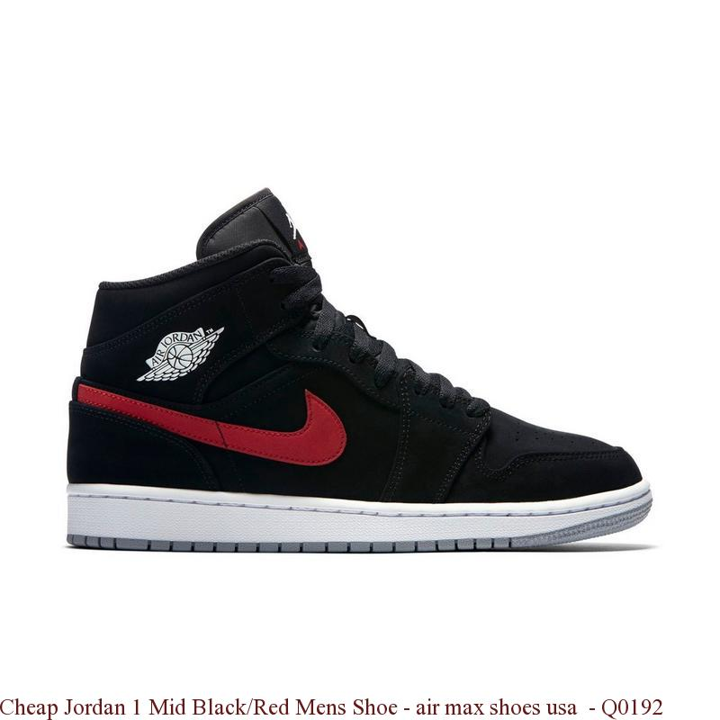 9339acf279c Cheap Jordan 1 Mid Black Red Mens Shoe – air max shoes usa – Q0192 ...
