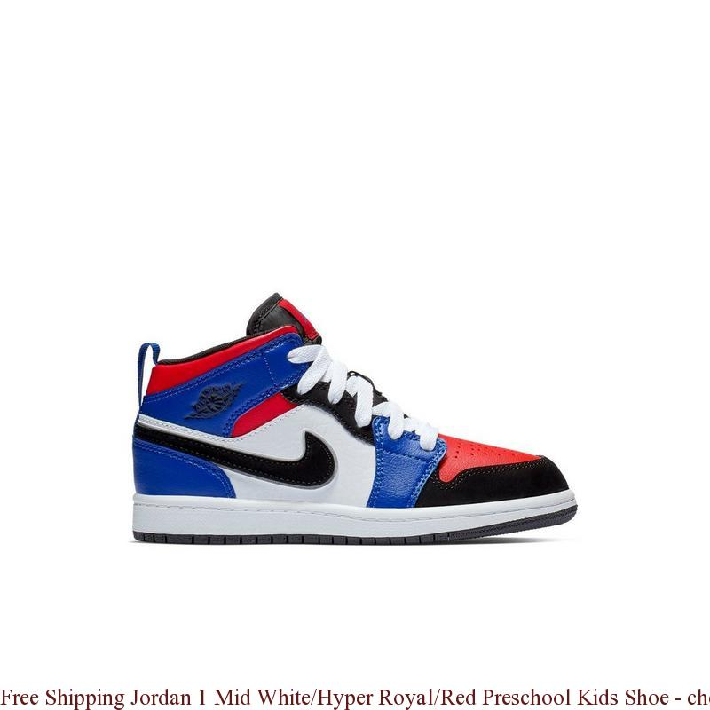 2a9a216aa61 Free Shipping Jordan 1 Mid White/Hyper Royal/Red Preschool Kids Shoe ...