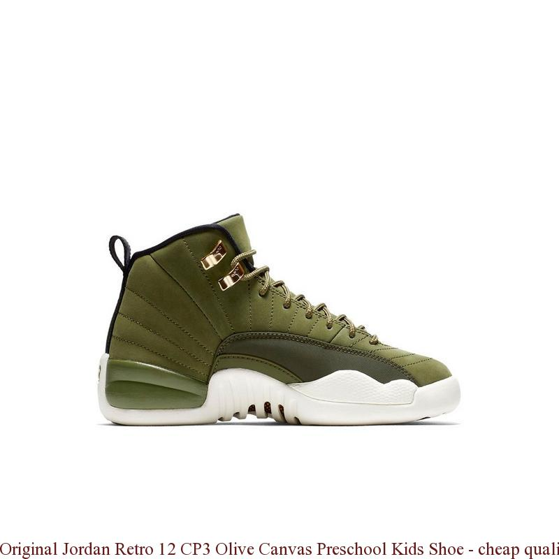 c2aa642ee332 Original Jordan Retro 12 CP3 Olive Canvas Preschool Kids Shoe ...